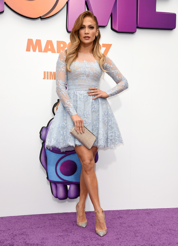 J. Lo worked an on-trend blue lace dress at Home premiere (22 March)