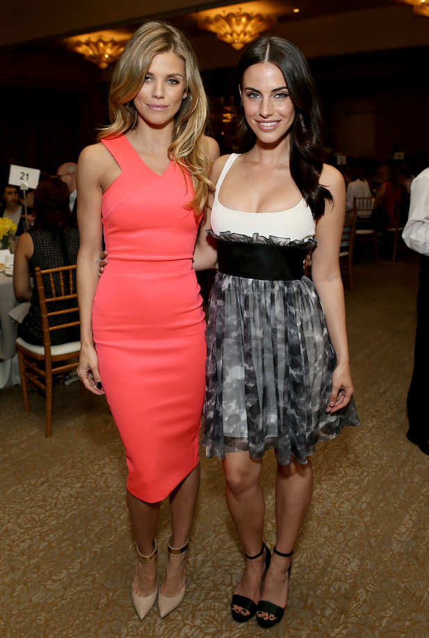 Actresses AnnaLynne McCord and Jessica Lowndes attend the Sports Spectacular Luncheon, Benefiting Cedars-Sinai at The Beverly Hilton Hotel on March 25, 2015 in Beverly Hills, California.