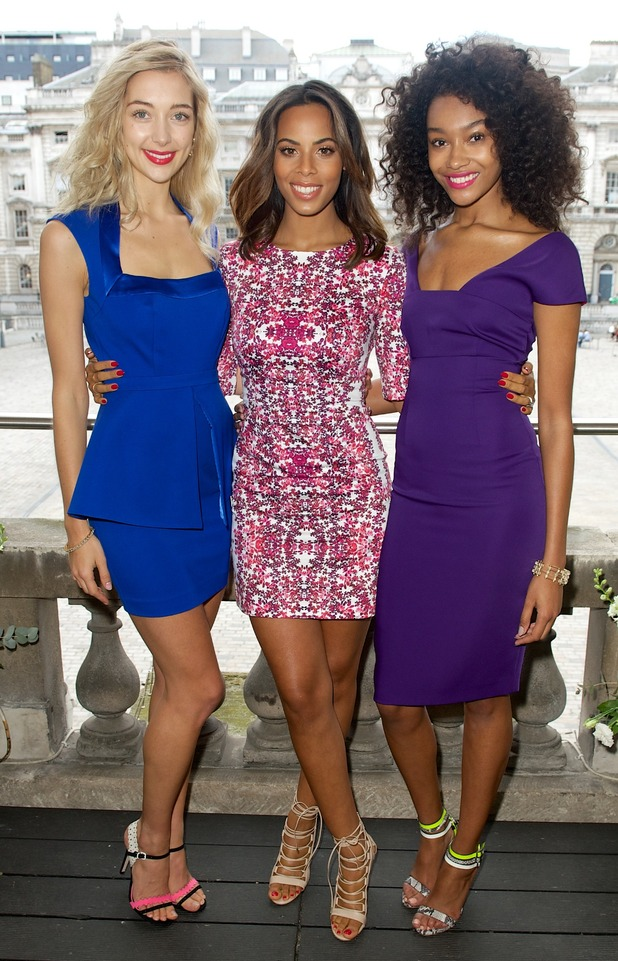 Rochelle Humes with models at spring/summer Very collection launch, 24/3/15