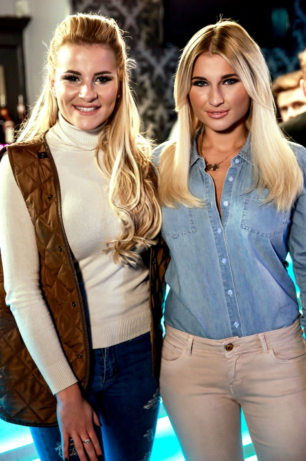 The Only Way is Essex' cast filming, Britain - 22 Mar 2015 Georgia Kousoulou and Billie Faiers at the bar