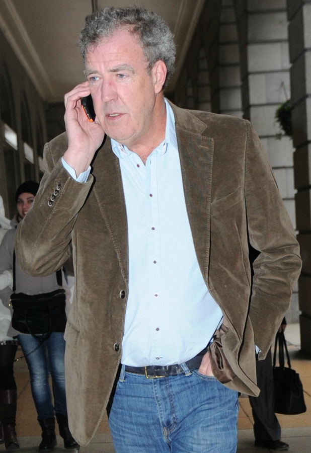 Jeremy Clarkson chats on his mobile phone while out and about in London, 19 March 2015