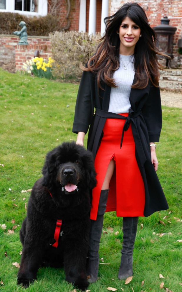 The Only Way is Essex' cast filming, Britain - 21 Mar 2015 Jasmin Walia and dog