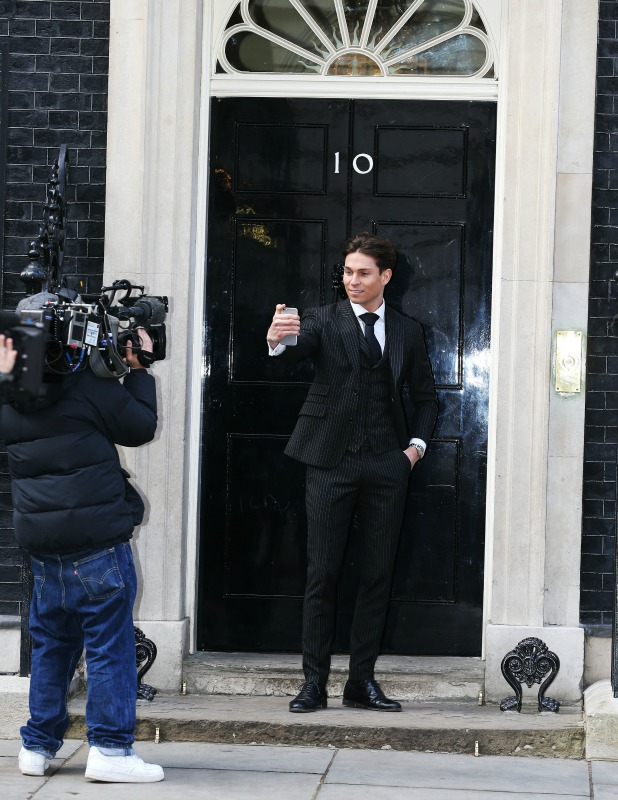 Joey Essex outside 10 Downing Street 24 Mar 2015