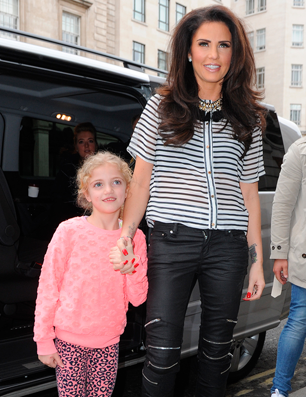 Katie Price and her daughter Princess Tiaamii arrive at BAFTA for Advertising Week on March 24, 2015 in London, England.