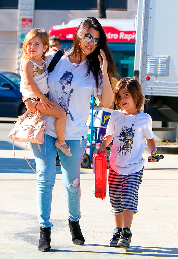 Kourtney Kardashian wears Kendall Jenner image on T-Shirt as she takes kids to ballet in Woodland Hills. 26 March 2015