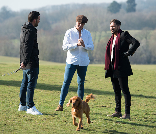 The Only Way is Essex' cast filming, Britain - 20 Mar 2015 Ricky Rayment, Lewis Bloor and Mario Falcone at South Weald.
