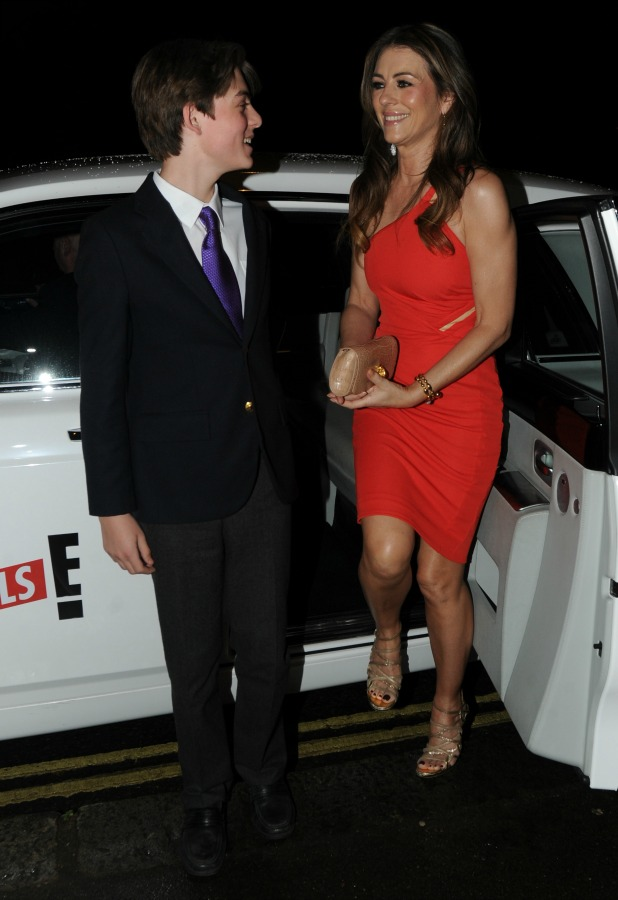 Liz Hurley and son Damian The UK TV Premiere of 'The Royals' 24 March 2015