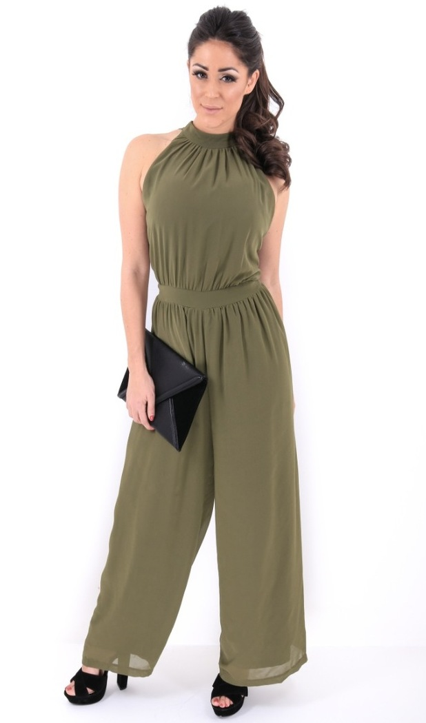 """Casey Batchelor wearing khaki jumpsuit from """"Casey's Closet"""" collection"""
