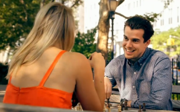 Matt Charles plays chess with Sophie Pape in Taking New York - series one - March 2015.