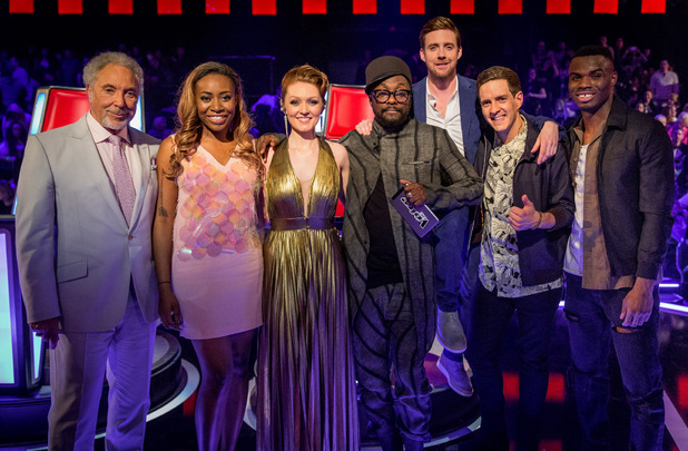 The Voice UK semi final group picture - Sasha Simone, Lucy O'Byrne, Will.i.am, Ricky Wilson, Stevie McRorie, Emmanuel Nwamadi, Sir Tom Jones.