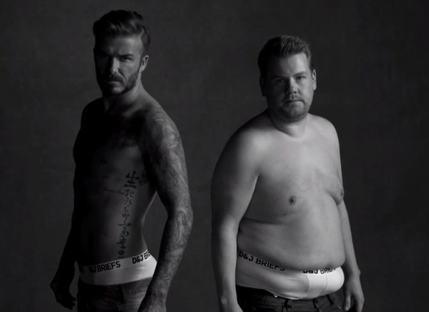 James Corden enlists the help of David Beckham for The Late Late Show sketch - 30 March 2015.