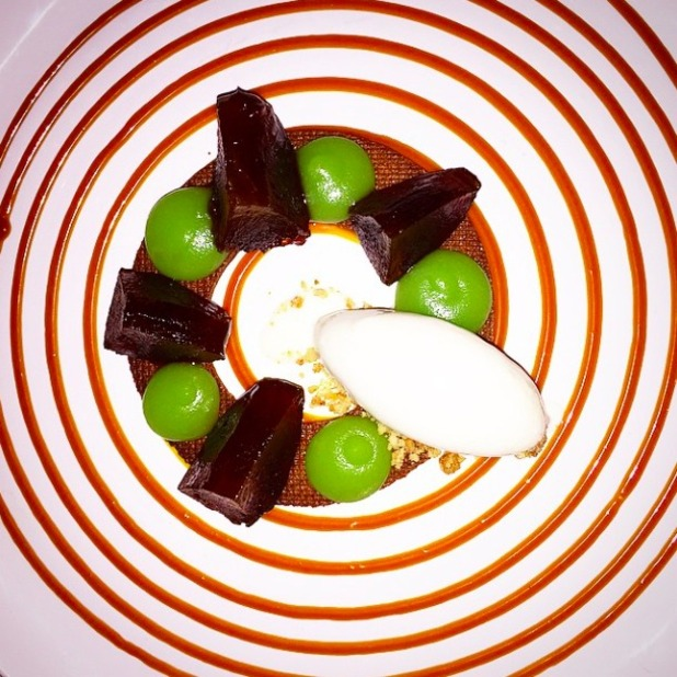 Ferne McCann enjoys a delicious dessert at Sixty One restaurant, 4 April 2015