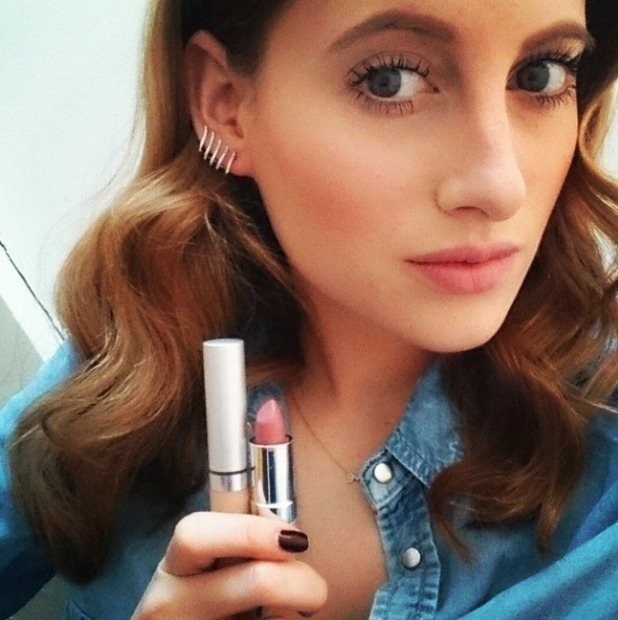 Rosie Fortescue shows off new fave lipstick, Actiderm Gloss Creme Lipstick in Mauve Mousse, 19 March 2015