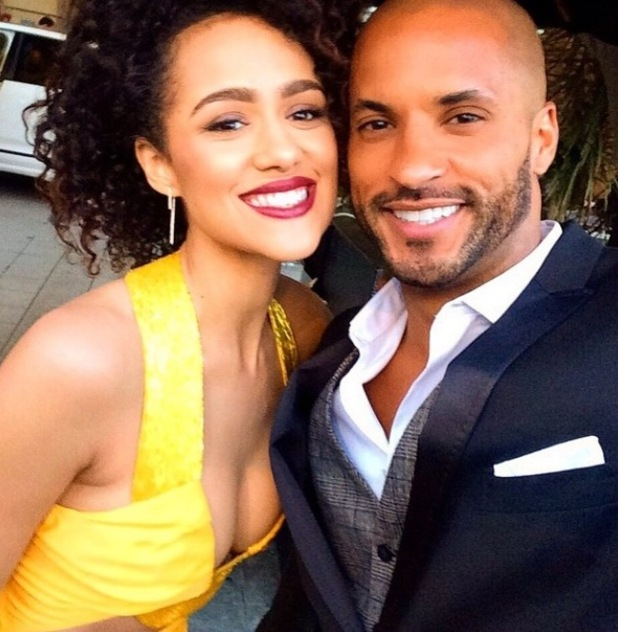Former Hollyoaks stars Nathalie Emmanuel and Ricky Whittle reunite in LA at Furious 7 premiere - 2 April 2015.