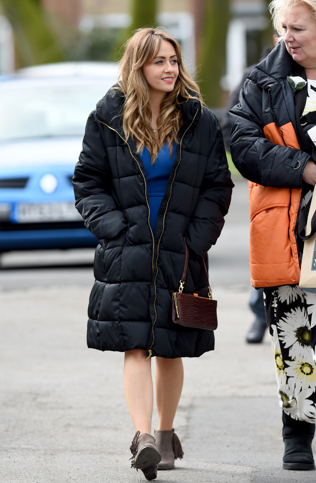 Coronation Street's Samia Ghadie filming on location in Manchester, Britain - 30 Mar 2015.