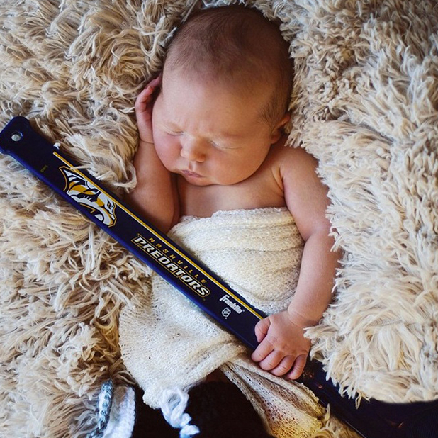 Carrie Underwood's picture of baby son Isaiah Michael Fisher, 29 March 2015