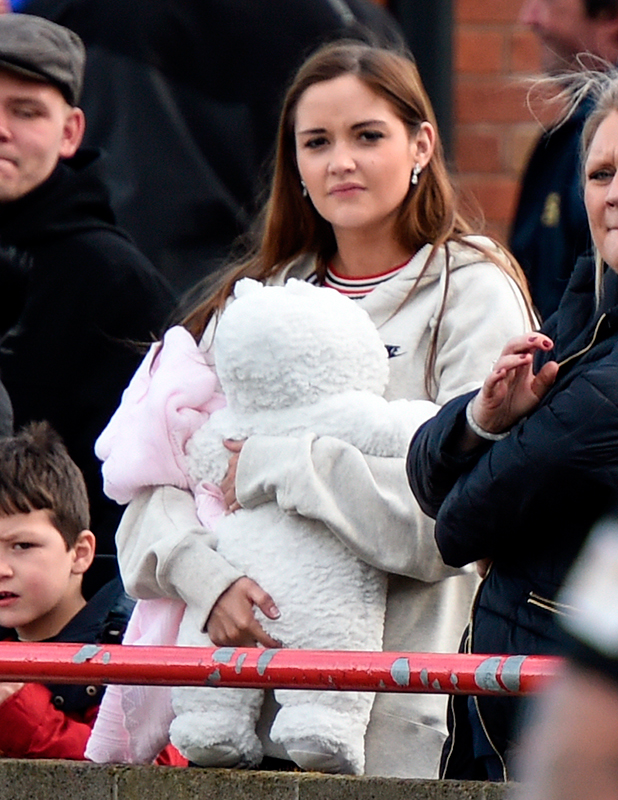 Jacqueline Jossa supports The Only Way is Essex star boyfriend Dan Osborne with baby Ella at a charity football match in Loughborough raising funds and awareness for Jack Oldacres who suffers from Netherton Syndrome, 29 March 2015