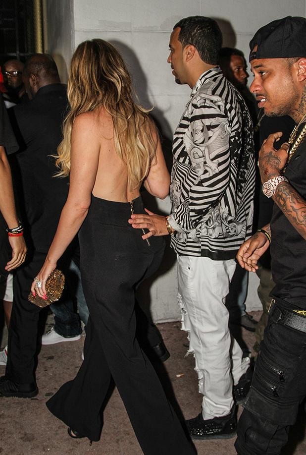 Khloe Kardashian and French Montana arrive at Dream nightclub on March 28, 2015 in Miami Beach, Florida.
