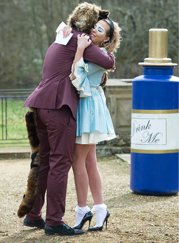 'The Only Way is Essex' cast filming, Britain - 01 Apr 2015 James Argent hands Lydia Bright a letter listing girls he slept with.