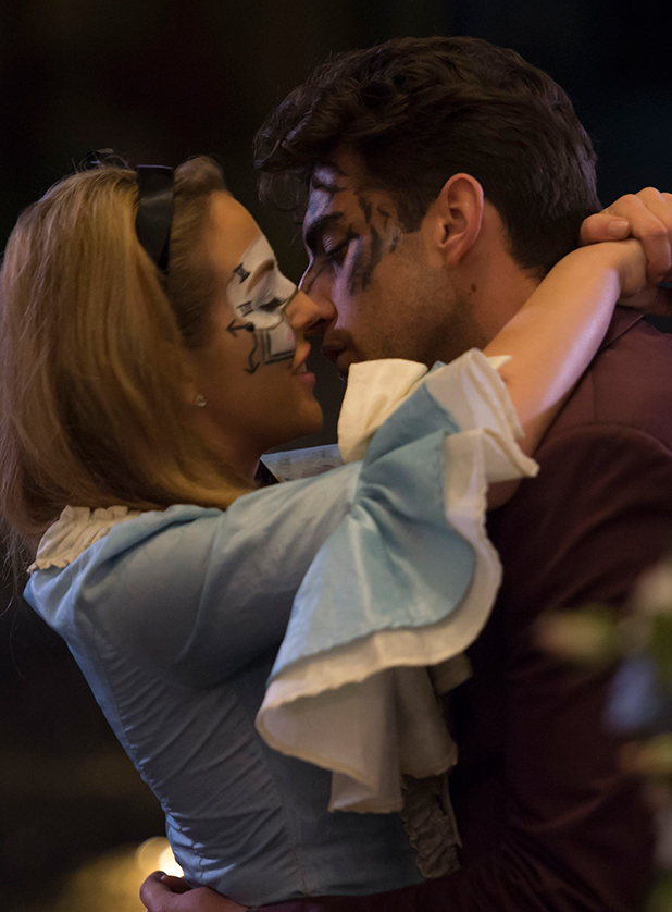 The Only Way is Essex' cast filming, Britain - 01 Apr 2015 Lydia and Arg kiss