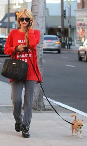 Paris Hilton dog walking in Beverly Hills, LA 8 April