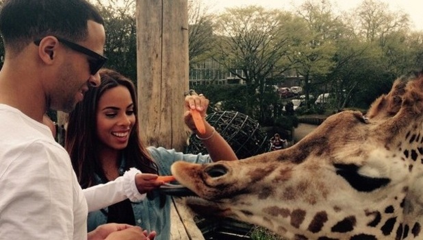 Rochelle Humes with husband Marvin and daughter Alaia-Mai at London Zoo 10 April