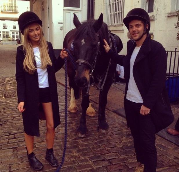 Alex Mytton and girlfriend Nicola Hughes go horse riding for her birthday - 9 April 2015.