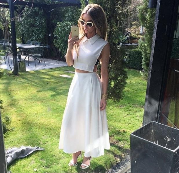 Lauren Pope wears white co-ords from own range, Instagram 7 April