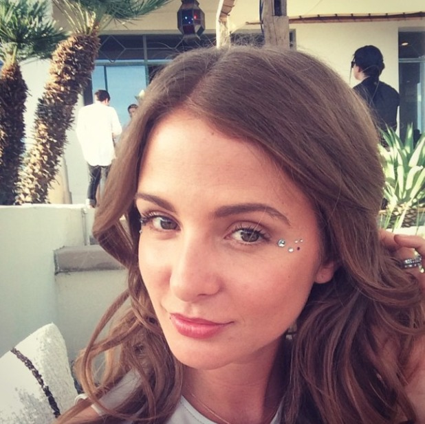 Millie Mackintosh shows off her face gems at Coachella 2015, 11 April 2015