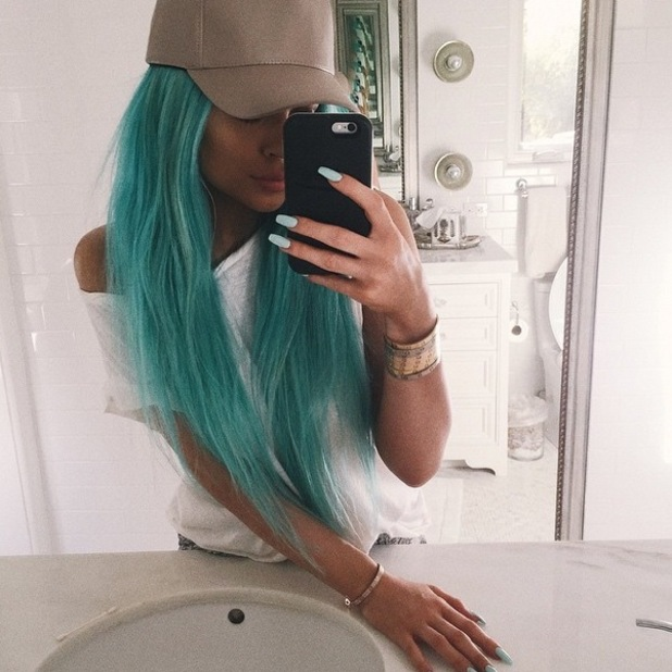 Kylie Jenner shows off new teal hair on Instagram on 9 April 2015