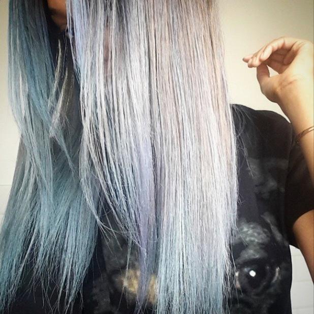 Jourdan Dunn dyes hair grey-blue for Coachella (9 April)