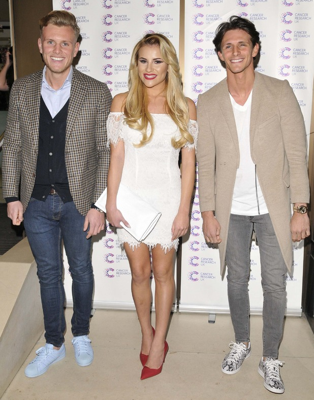 Georgia Kousoulou, Tommy Mallet, and Jake Hall attend James Ingham's Jog on to Cancer Research UK event at Kensington Roof Gardens on April 9, 2015 in London, England.