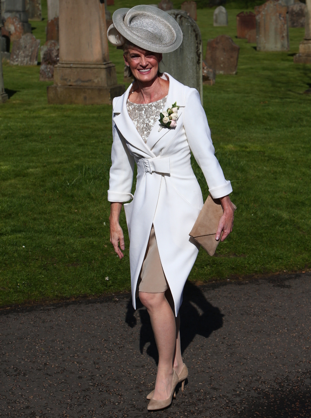 Judy Murray attends the wedding of son Andy Murray and Kim Sears at Dunblane Cathedral, 11 April 2015