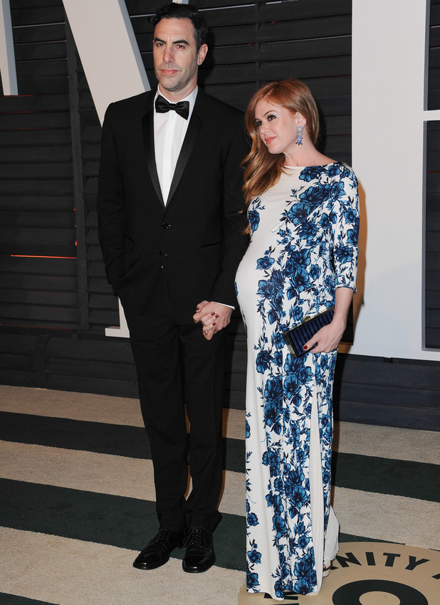Sacha Baron Cohen and Isla Fisher attend The 87th Annual Oscars - Vanity Fair Oscar Party, 2015