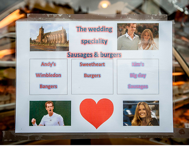 David Bennet, butchers, have made special sausages to celebrate the wedding. Preparations for wedding of Andy Murray and Kim Sears, Dunblane, Scotland, Britain - 07 Apr 2015
