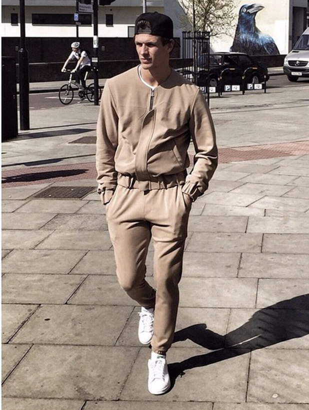 TOWIE's Jake Hall models his Prevu clothing in London, April 2015