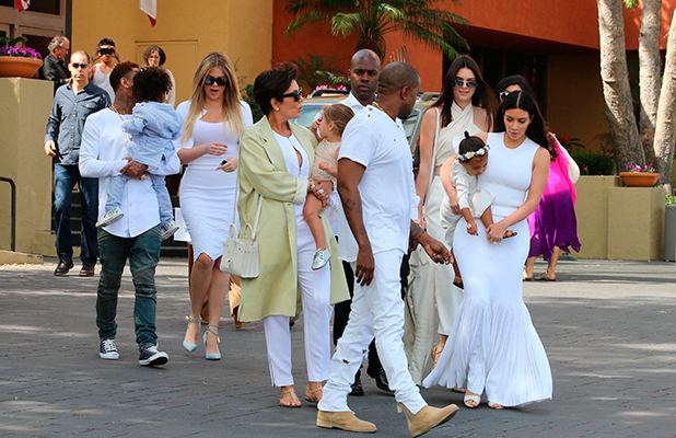 Kris Jenner and Corey Gamble join extended Kardashian-Jenner family attend church in Woodland Hills on Easter Sunday, 5 April 2015