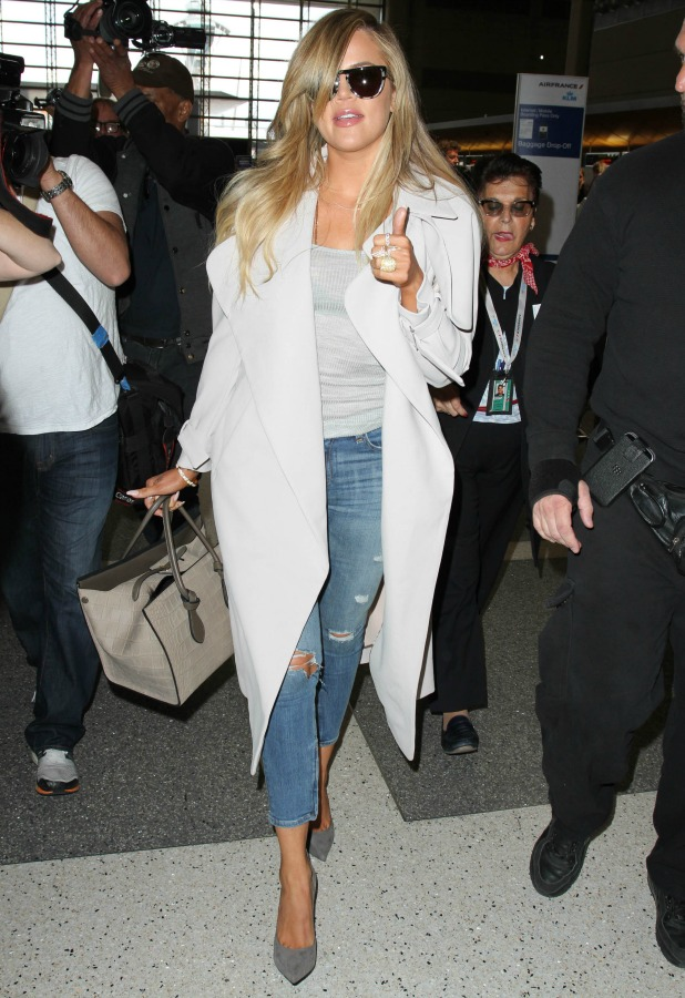 Khloe Kardashian seen at LAX on April 07, 2015 in Los Angeles, California.