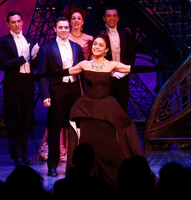 Vanessa Hudgens is seen during the curtain call during the 'Gigi' Broadway Opening Night at Neil Simon Theatre on April 8, 2015 in New York City.