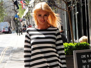 TOWIE's Chloe Sims enjoys the sunshine in cute striped dress