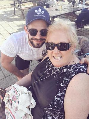Former TOWIE star Charlie King hangs out with Gemma Collins and her mum Joan  - 15 April 2015.