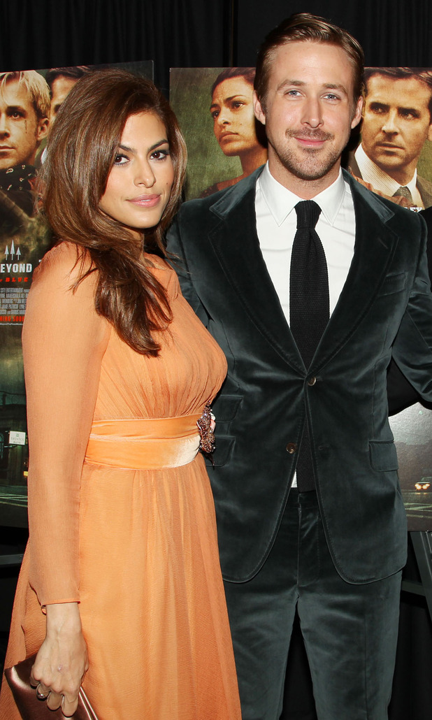 The Place Beyond The Pines film premiere, New York, America 28 March 2013, Ryan Gosling, Eva Mendes
