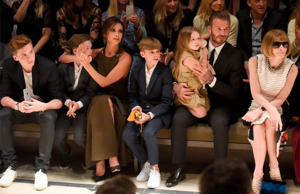 The Beckhams on the FROW at Burberry