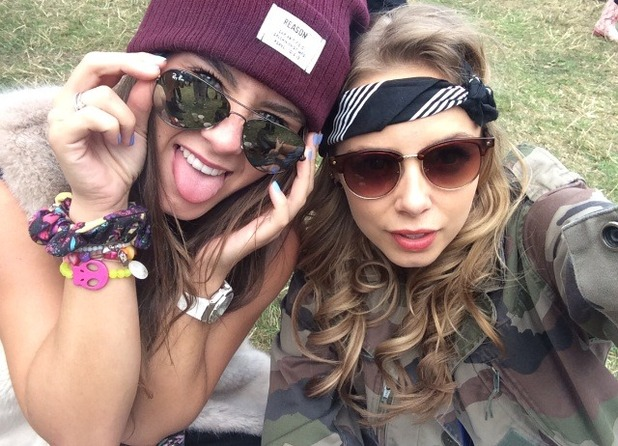 Brooke Vincent and Sacha Parkinson at a festival