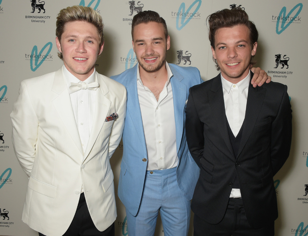 Niall Horan, Liam Payne and Louis Tomlinson attend The Great Gatsby Ball on April 16, 2015 in London.