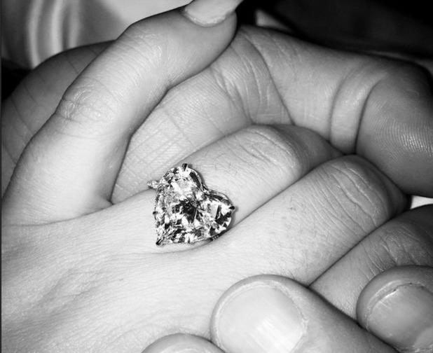 Lady Gaga shows off her engagement ring from fiance Taylor Kinney on Instagram on Valentine's Day in February 2015