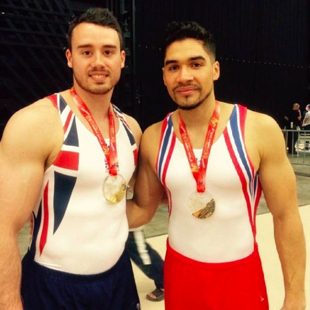 Louis Smith and Kristian Thomas pose with their medals in Montpellier for the Euros 2015, 18 April 2015
