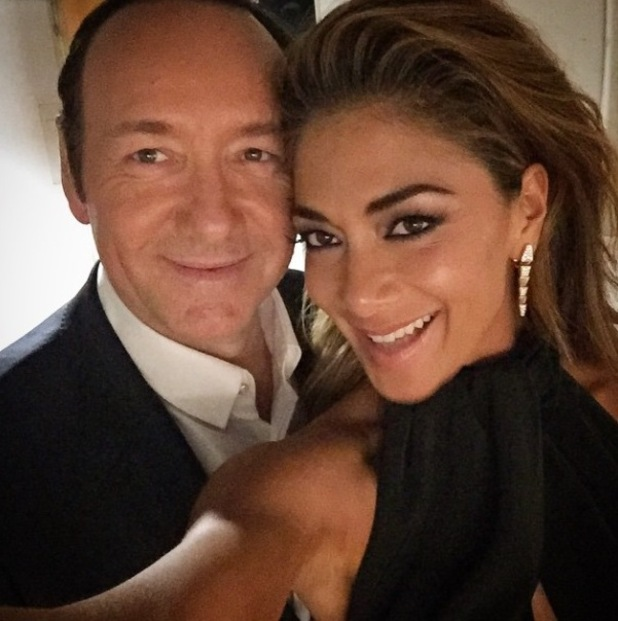Nicole Scherzinger hangs out with Kevin Spacey backstage at the Olivier Awards held at the Royal Opera House - Arrivals 04/12/2015 London, United Kingdom