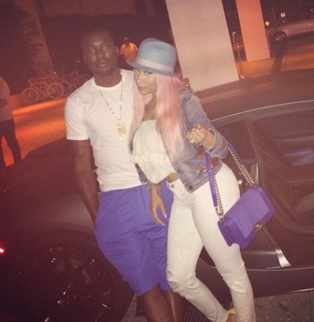 Nicki Minaj posing with her rapper boyfriend Meek Mill - 14 April 2015.