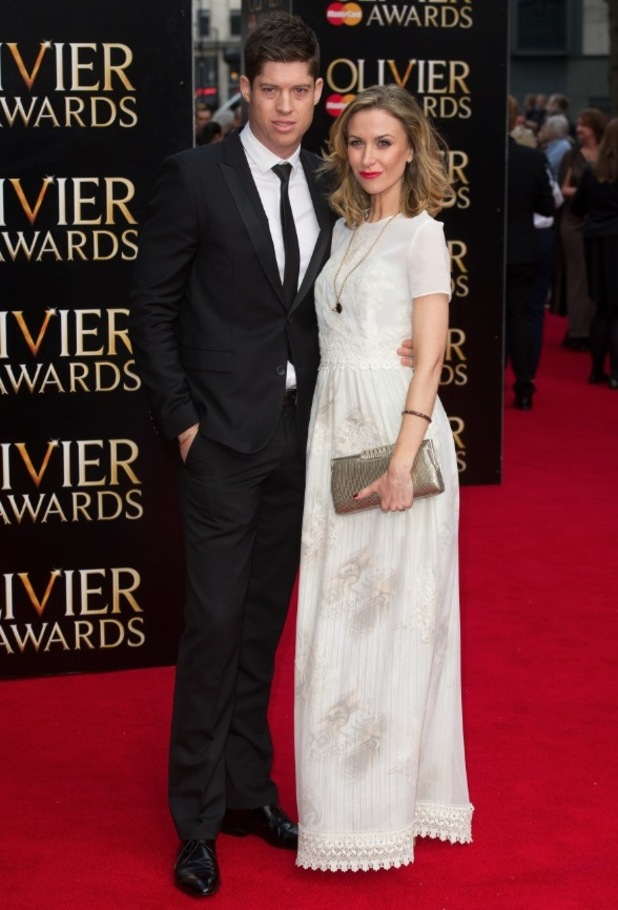 Katherine Kelly and husband Ryan Clark at The Olivier Awards held at the Royal Opera House - Arrivals 04/12/2015 London, United Kingdom